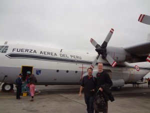 The Humor Code co-authors Joel Warner & Peter McGraw, boarding a plane in Peru