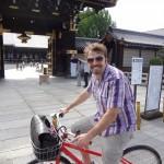 Joel Warner in Osaka, Japan on a bicycle